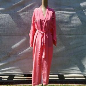 Bright Pink Japanese Silk Kimono Robe.